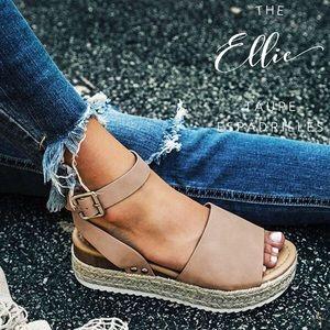 'The Ellie' Taupe Suede Espadrilles